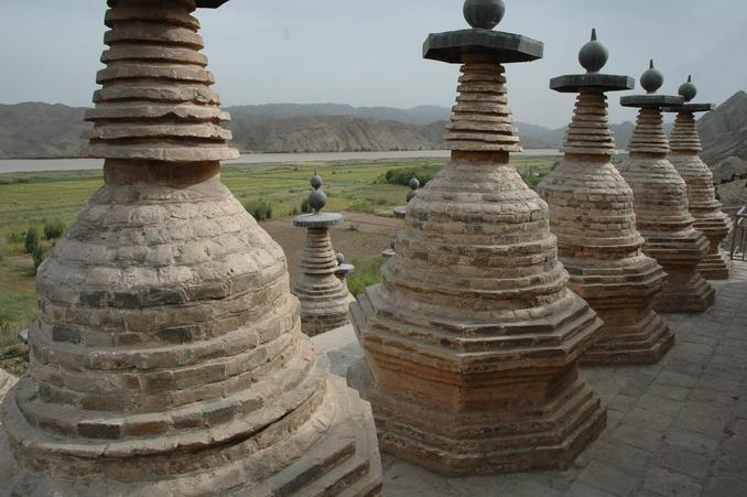 Part of 108 Stupas and overlooking Yellow River