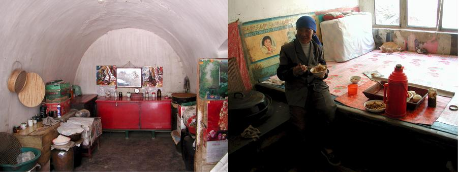 Inside of the mud cave / Lady of the cave - living room, bed room and kitchen all in one