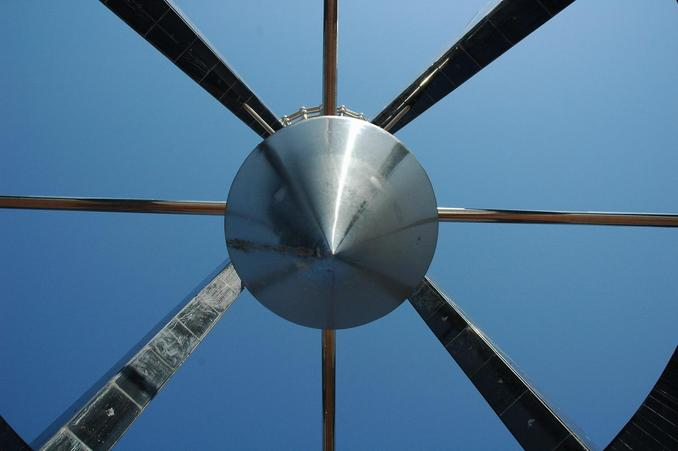 Looking straight up at the monument tower