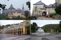 "#10: Loket castle (upper), colonnade and the ""singing"" fountain in Mariánské Lázně (lower)"