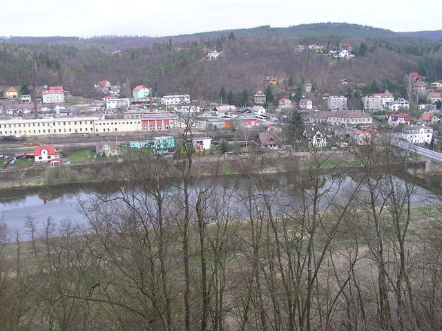 View North (the town of Nižbor, across the Berounka River)