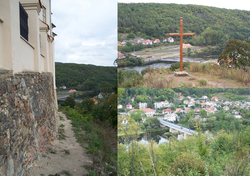 Path along the southern wall to the cross and the vantage point over the Berounka river