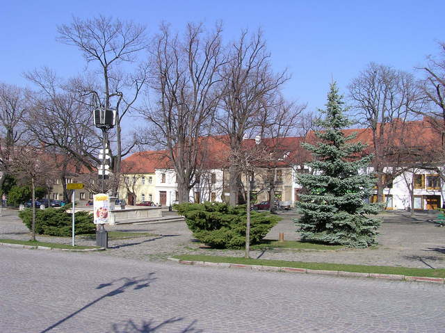 The town square in Kouřim (about 1.5 km West of the confluence point)