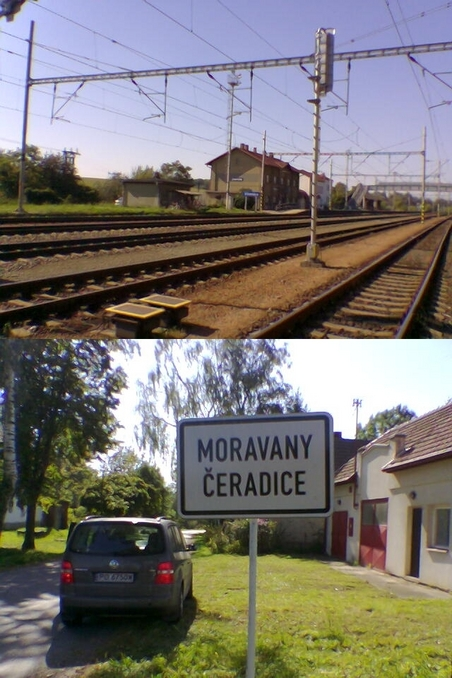 Uhersko railway station and the village of Moravany Čeradice