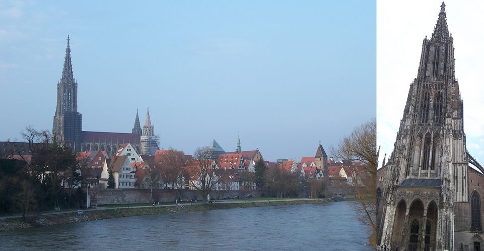 The Danube River and the Ulm Cathedral with the world's highest church steeple