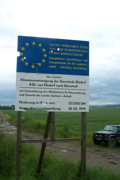 Sign near the confluence / Schild in der Nähe des Confluence Punktes