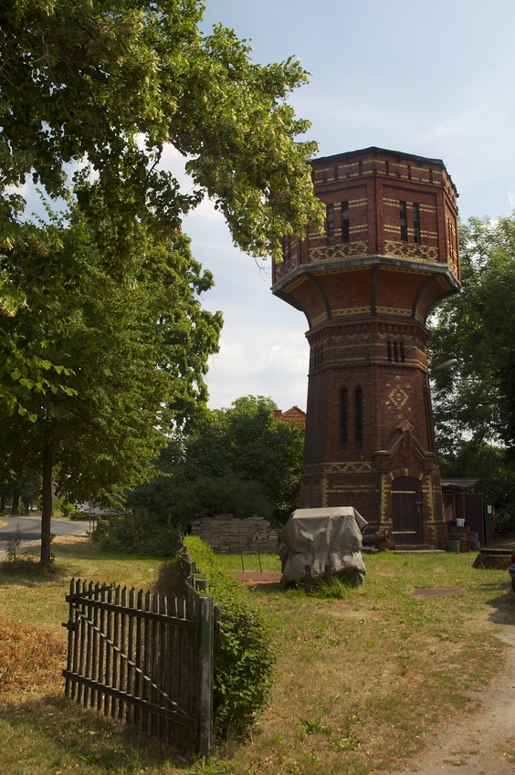 A pretty brick tower in the village of Loburg, north of the confluence point