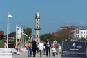 #9: Beach boardwalk and lighthouse in the sea resort of Warnemünde and my tomorrow's destination (Gedser, Denmark)