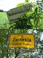 "#10: ""Bulls' pasture! No entry!"" and village limits of Zarnekla signs"