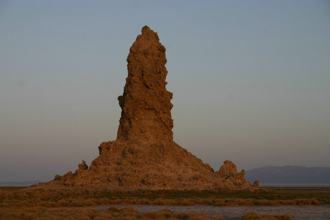Limestone 'chimney' at sunrise at Lake Abhé