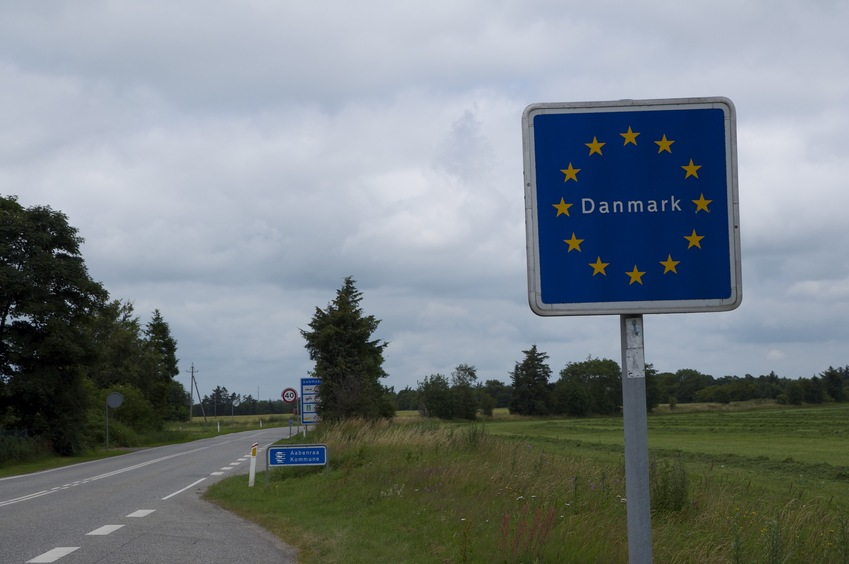 Entering Denmark from Germany, en route to the confluence point