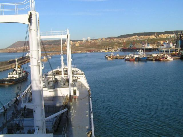 We are steaming through the port of Mostaganem towards our berth