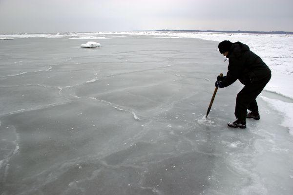 Checking the ice.