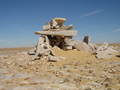 "#7: The ""Great Cairn"" at the branch point in the camel caravan trails, mounds of pottery similar to what we had found the previous day were close by"