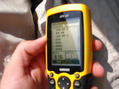 #2: Blurry photo of GPS showing distance to Confluence 30N 34E, taken during hasty retreat