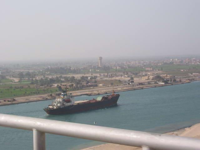 View of the Suez Canal from the bridge