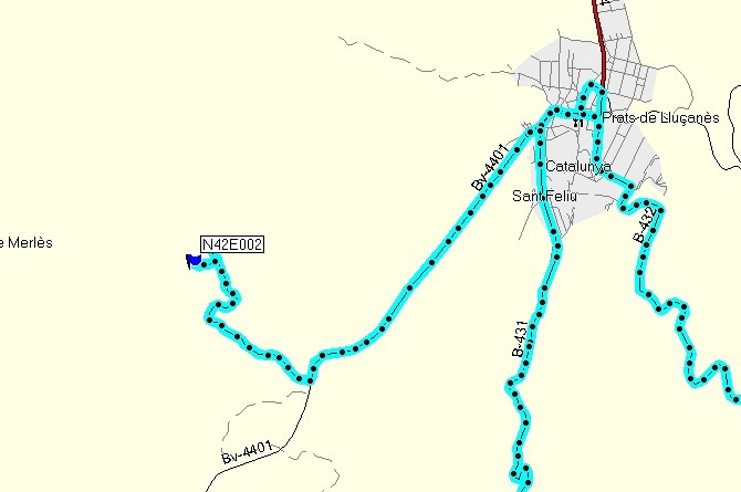 Track log shown on Garmin map