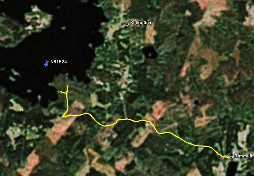 Google Earth track, showing where I turned around on the edge of the lake