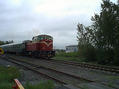#6: A passenger train on its way to Vaasa, spotted on a railway crossing 2km from the confluence.