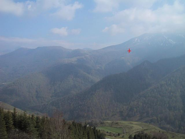View south to the pic d'Orhy from col Bagargui, the confluence is shown in orange
