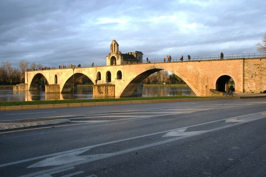 The old bridge on the Rhone River