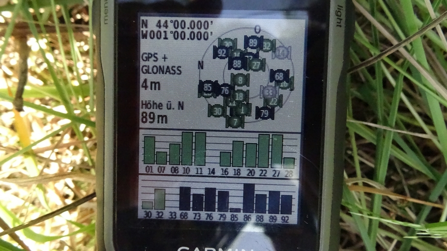 GPS reading at 44N 1W