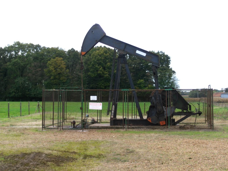 An oil well pump in front to CP