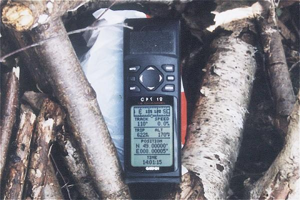 GPS on top of a GeoCache at the Confluence