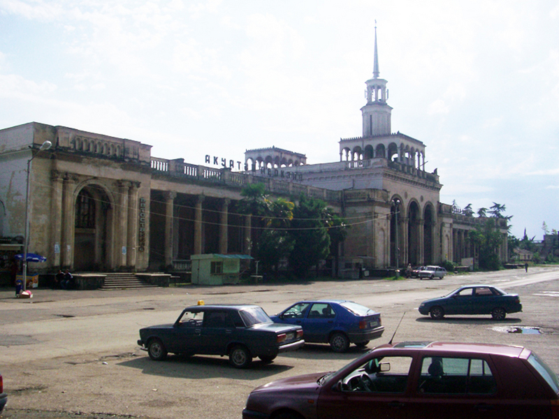 The abandoned main railway station of Sukhumi