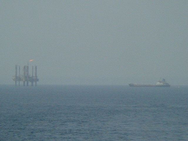 The oilrig APG-1 seen from the Confluence
