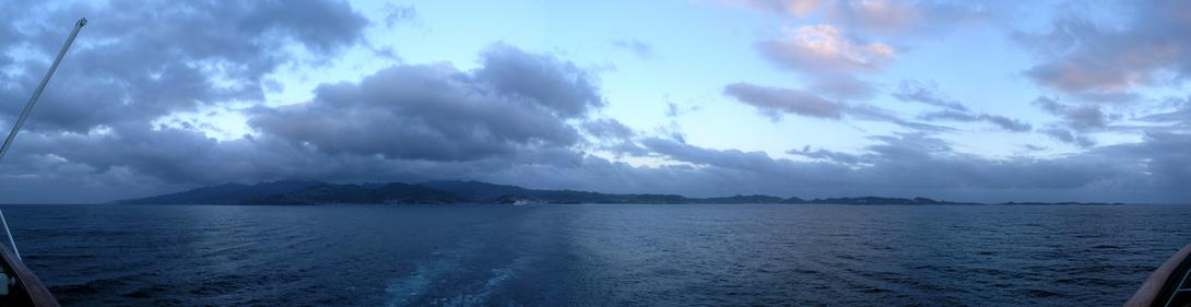 View back towards Grenada, just before sunset