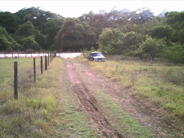 The entrance road (Notice the road behind the car)