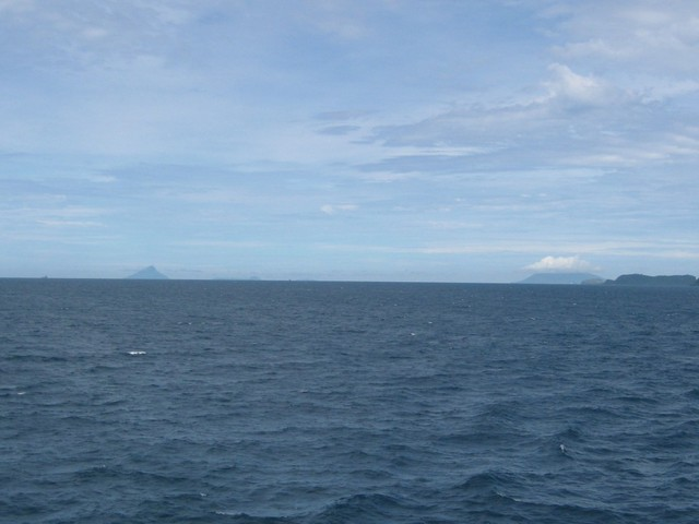 View southwest with Krakatau (left) and Raja Basa Mountain on Sumatra