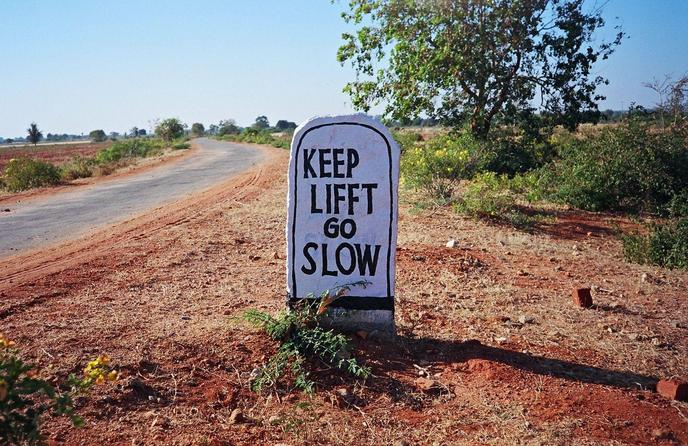 "We think they meant ""Keep Left, Go Slow"""