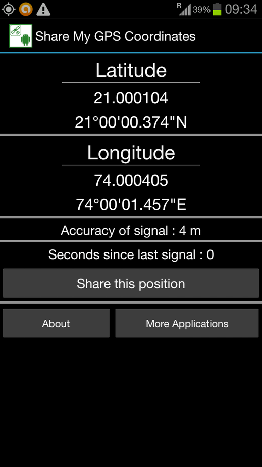 Image of GPS reading