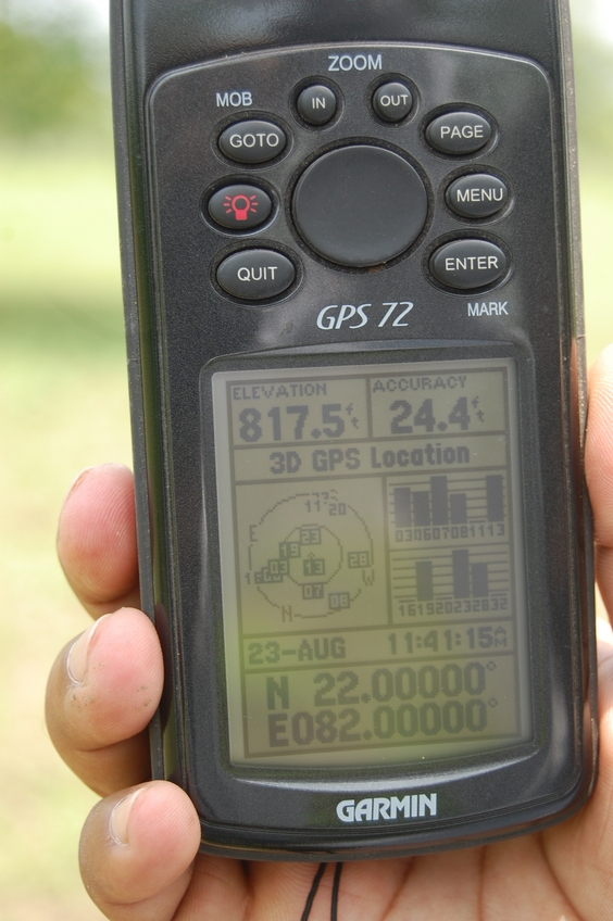 View of  the  GPS Co-ordinates at the Confluence Point