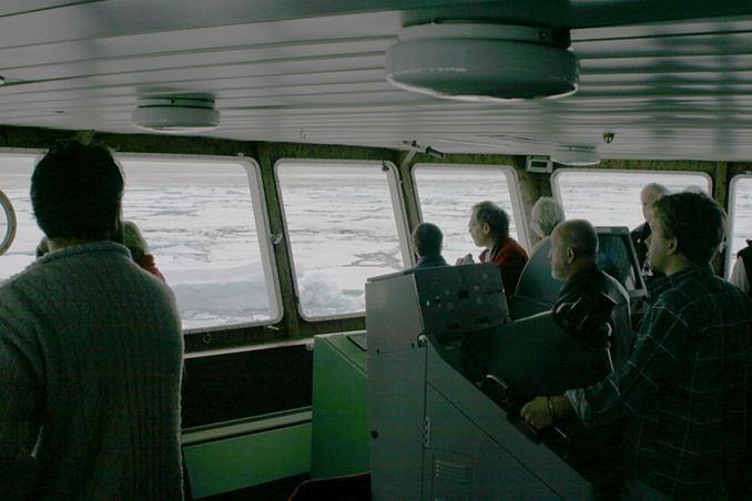 Captain navigating ship in pack ice