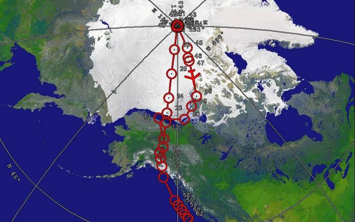 Northern portion of routing to North Pole