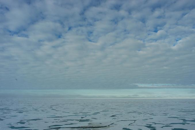 View standing over the geographic north pole -nothing than ice and a deep ocean