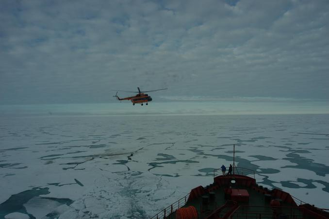 Icebreaker Yamal and its helicopter