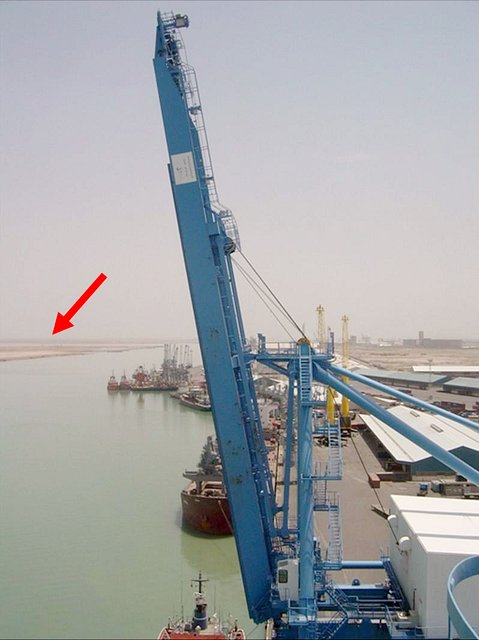 Looking from the top of one of the cranes at the Port of Umm Qasr, Iraq, towards 30N 48E