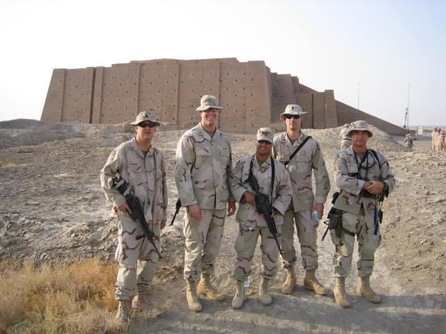 Sumerian Ziggurat Pyramid at Ur, just a few miles ESE of the confluence point (from left to right, SGT John McC., LT Paul P., SGT Rene M., LT Scott T., and TSgt Robert L.)
