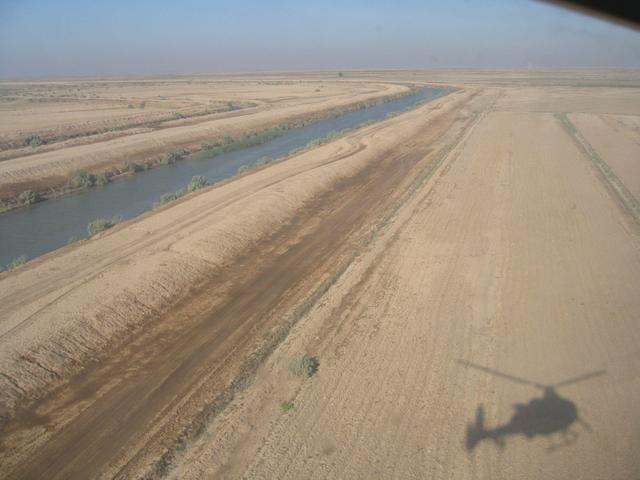 Aerial view of the confluence area with shadow of the helicopter