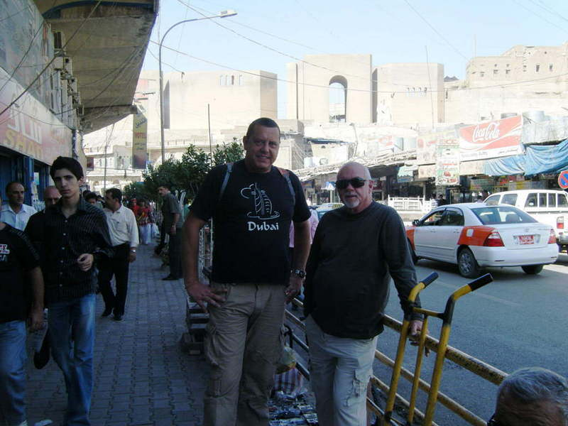 Me (left) and Ray at Arbīl market and citadel