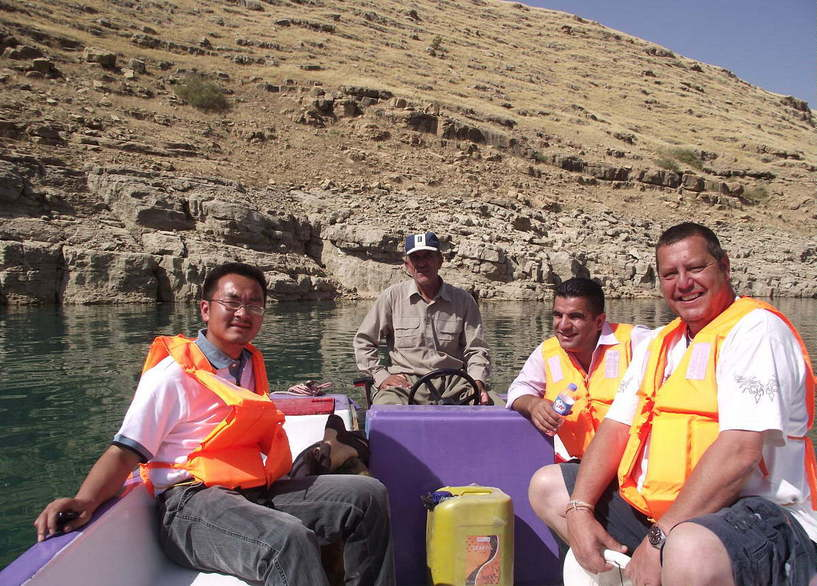 Mr Feng, Erfan, and me at the confluence point