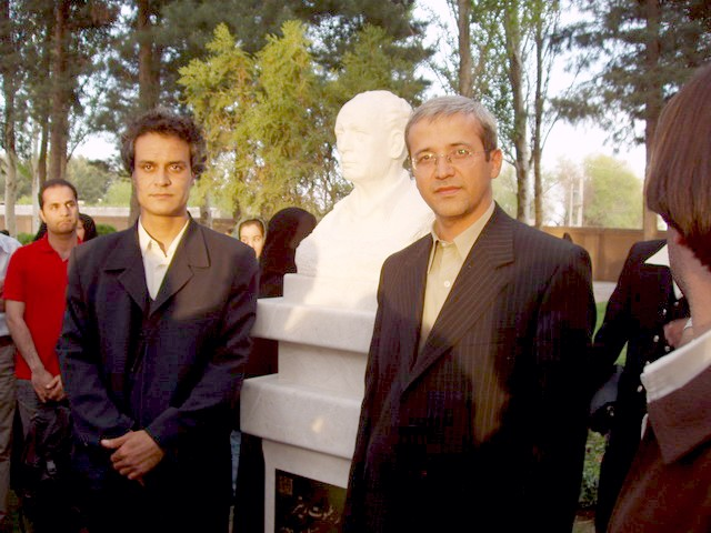 Helmut Ritter statue, me, and the sculptor: `Alireza Ghadamyari