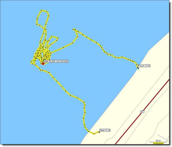 Track of the our journey at sea 2,1km