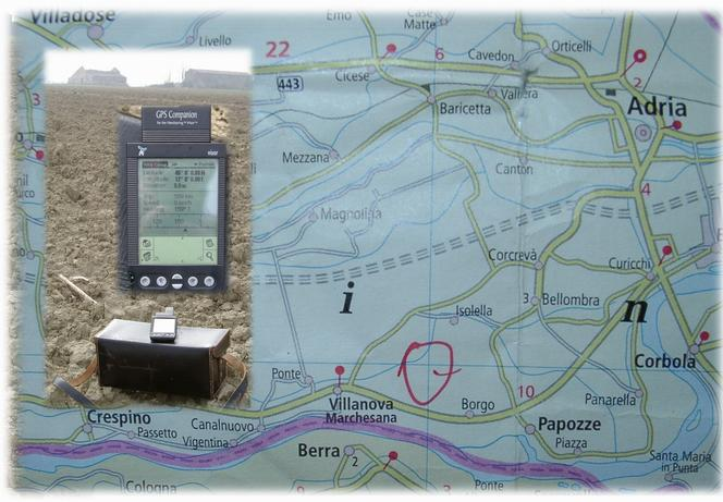 Map with GPS reading at the confluence towards NW