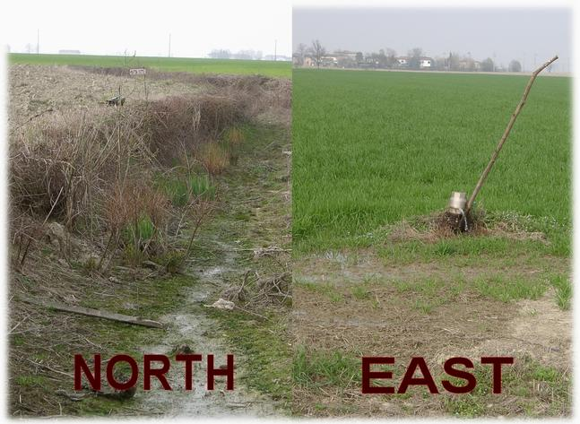 Left to north – just ploughed / right to east – green & irrigated