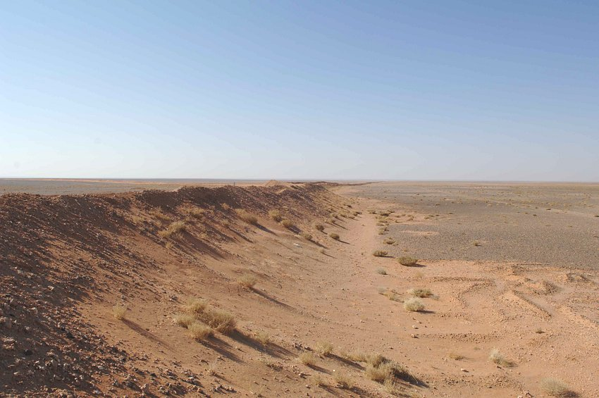 Saudi/Jordanian border berm at the Confluence